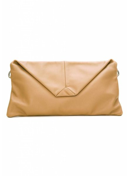 Dutch Basics Envelope Leather Clutch  - Nude