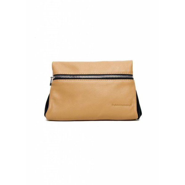 Leather Zipper Clutch - Nude