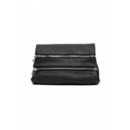 Dutch Basics Leather Zipper Clutch - Black