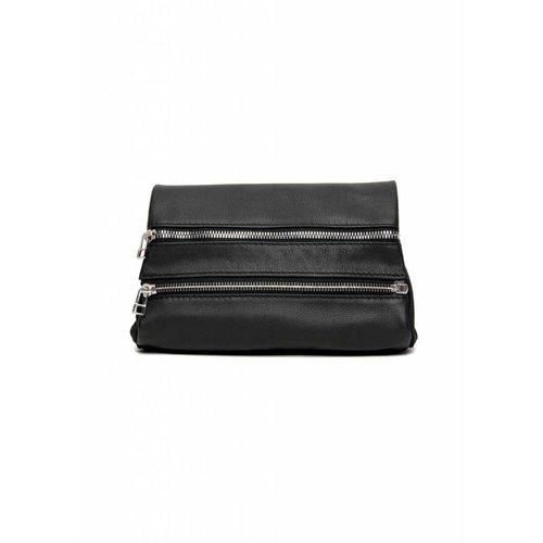 Dutch Basics Leather Zipper Clutch - Black