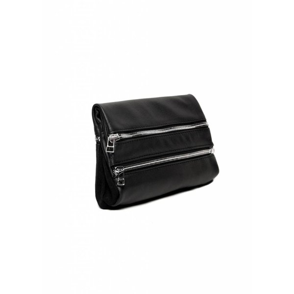 Leather Zipper Clutch - Black