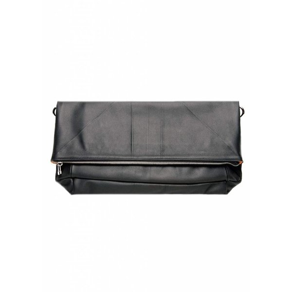 Leather Folded Clutch - Black