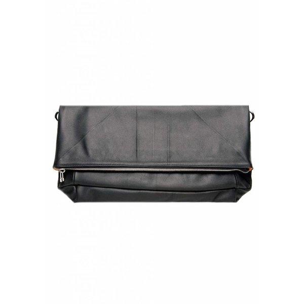 Leather Folded Clutch - Black