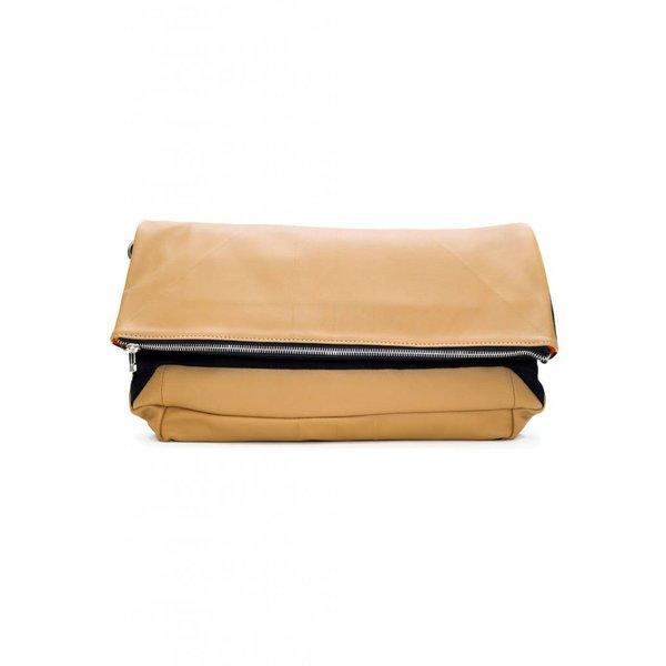 Leather Folded Clutch - Nude