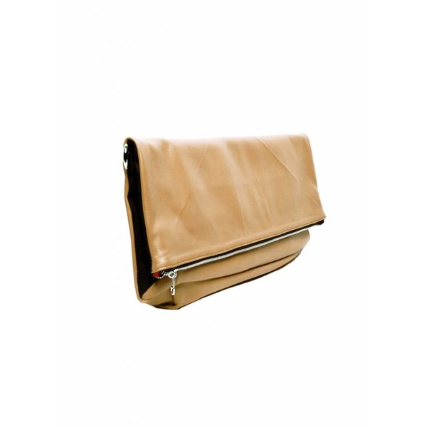 Leather Folded Clutch - Nude