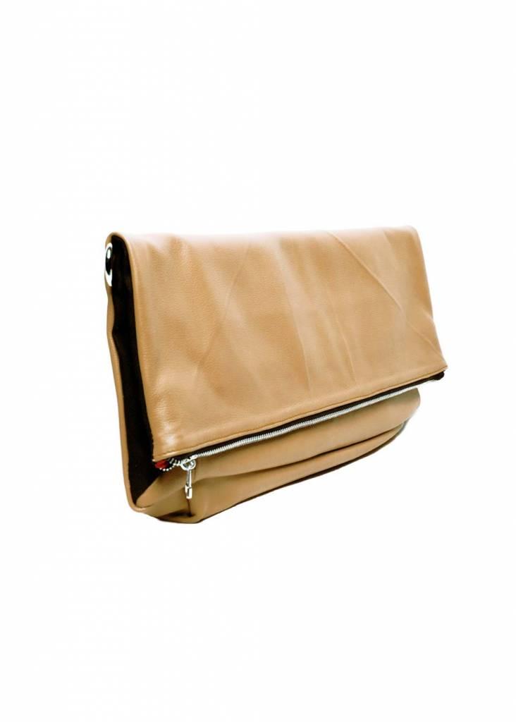 Dutch Basics Leather Folded Clutch - Nude
