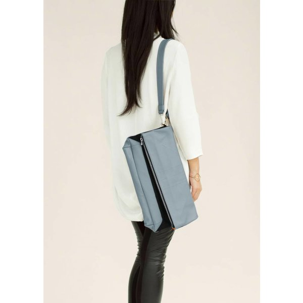 Leather Folded Clutch - Blue