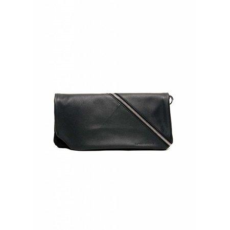 Dutch Basics Diagonal Leather Clutch - Black