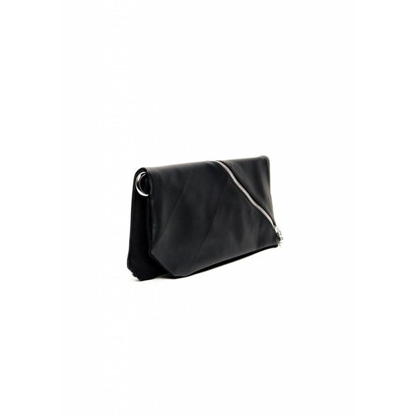 Diagonal Leather Clutch - Black