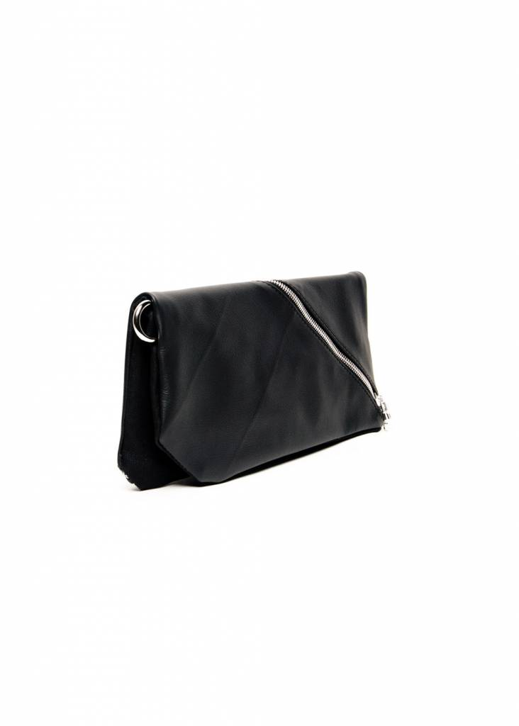 Dutch Basics Diagonal Leather Clutch - Black