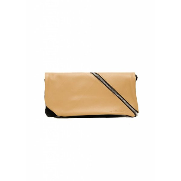Diagonal Leather Clutch - Nude