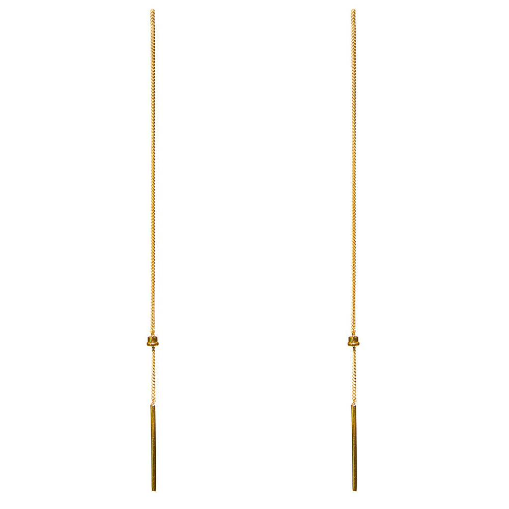 Dutch Basics Small Cylinder Fine Drop Chain Earring - Gold Plated