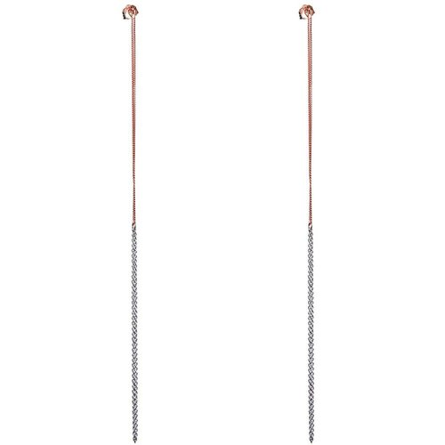 Dutch Basics Interlinked Studs Chain Earrings - Silver & Rose-Plated