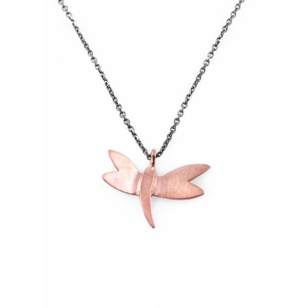 Dragonfly Necklace - Oxidised and Rose
