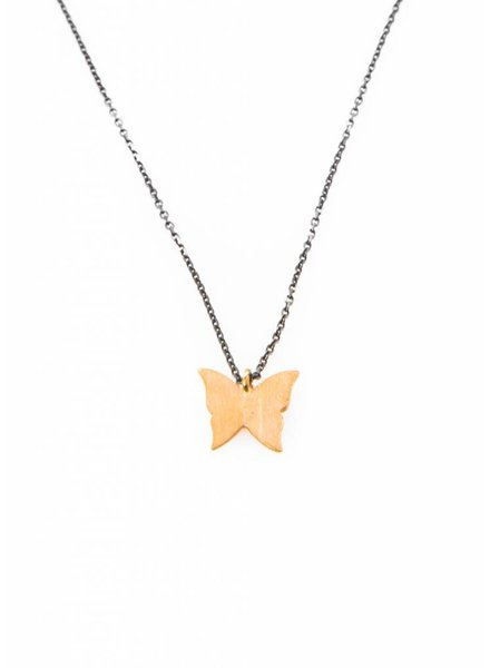 Dutch Basics Butterfly Necklace - Oxidized Silver en Gold Plated