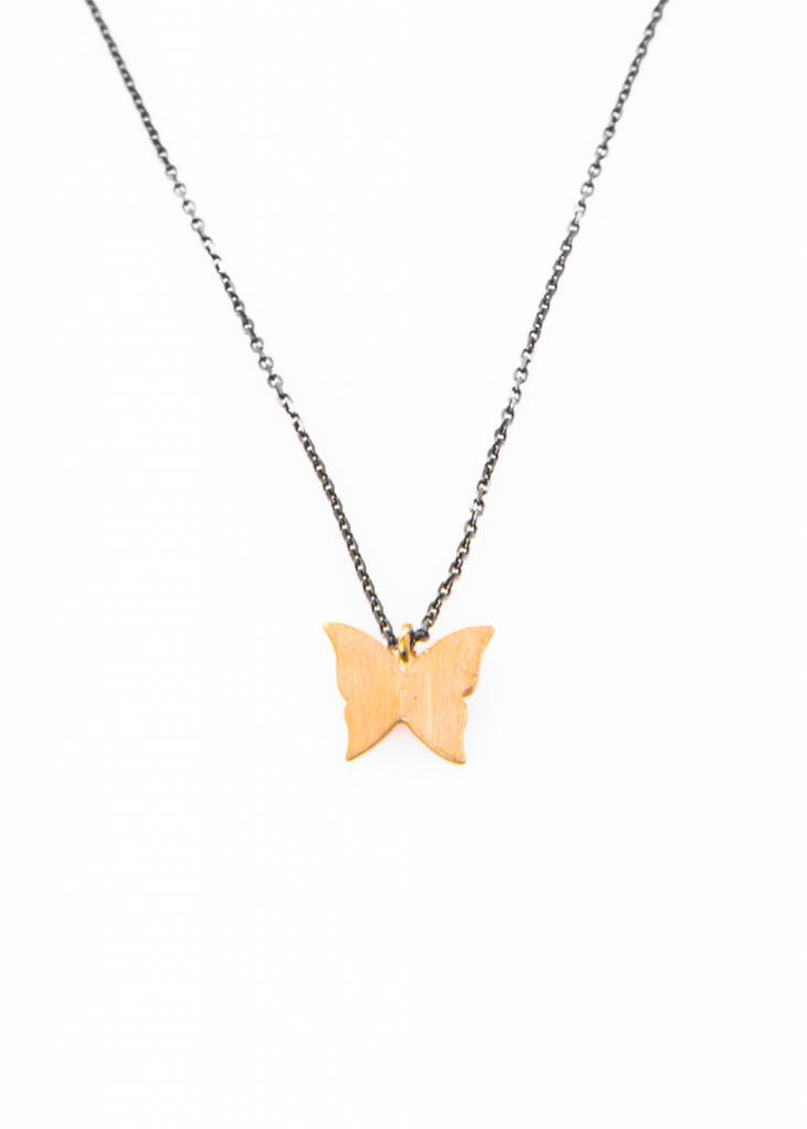 Dutch Basics Butterfly Necklace - Oxidized Silver and Gold Plated