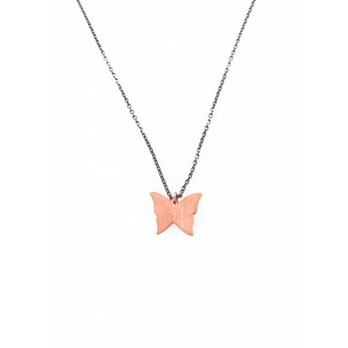 Dutch Basics Butterfly Necklace - Oxidized Silver and Rose