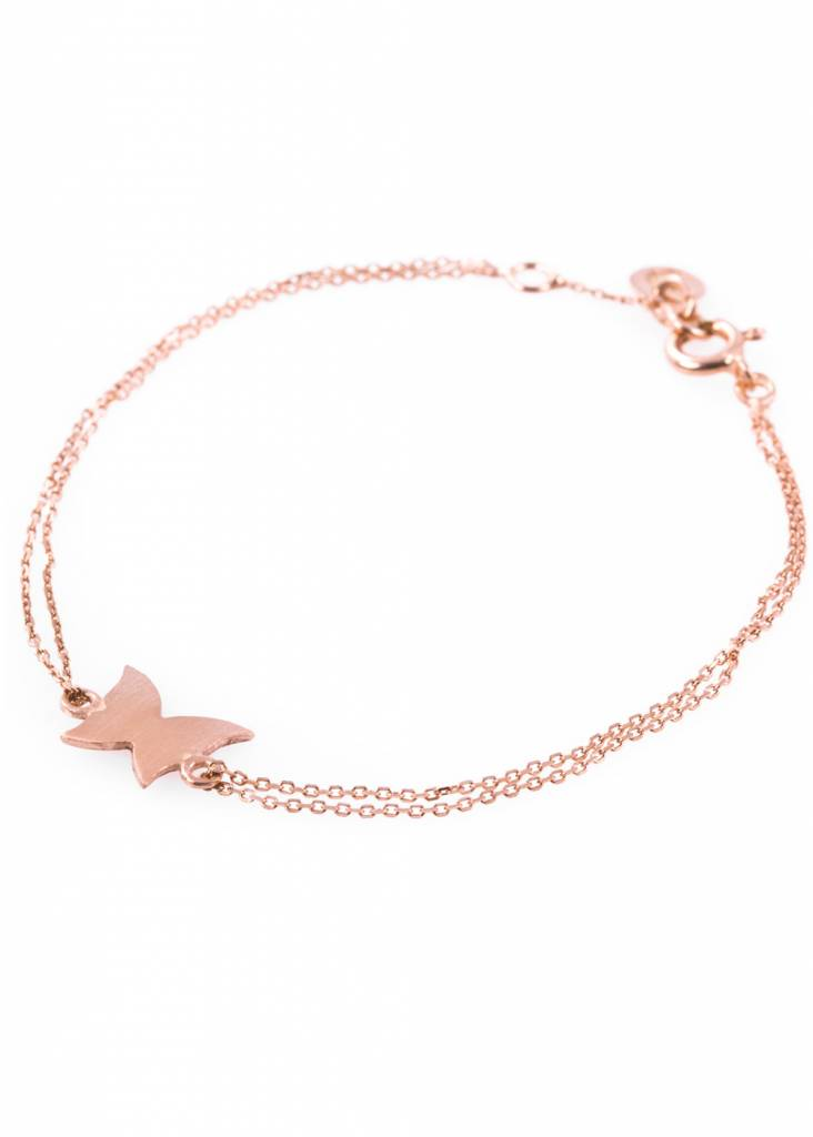 Dutch Basics Rose Plated Butterfly Bracelet