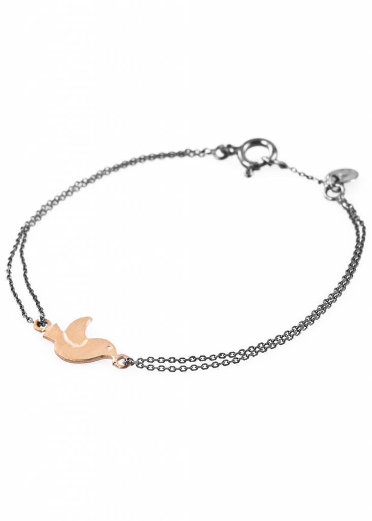 Dutch Basics Bird Bracelet - Oxidised and Gold
