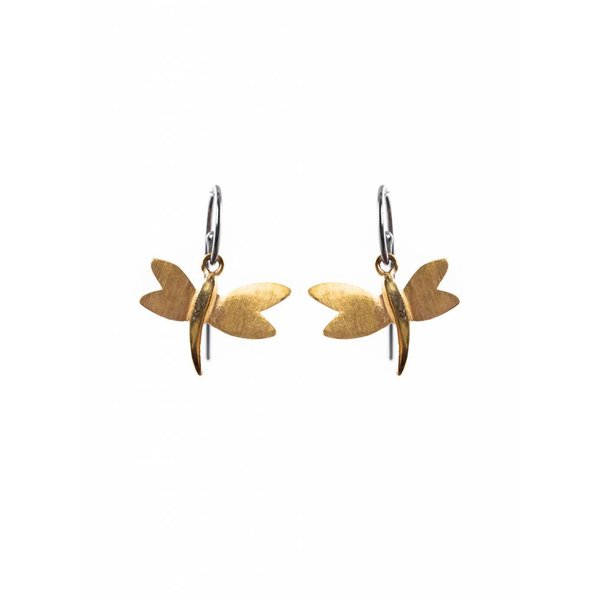 Dragonfly Earrings - Oxidised and Gold