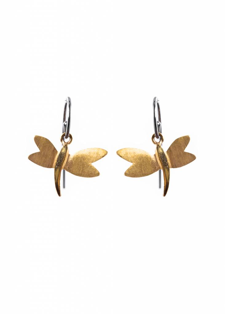 Dragonfly Earrings Oxidised And Gold