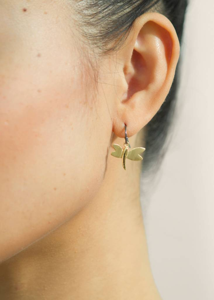 Dutch Basics Dragonfly Earrings - Oxidised and Rose