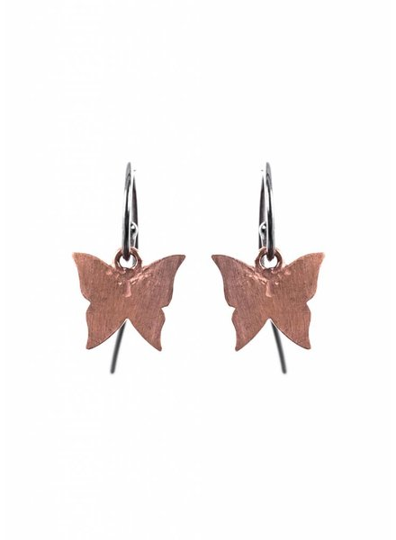 Dutch Basics Butterfly Earrings - Oxidised and Rose
