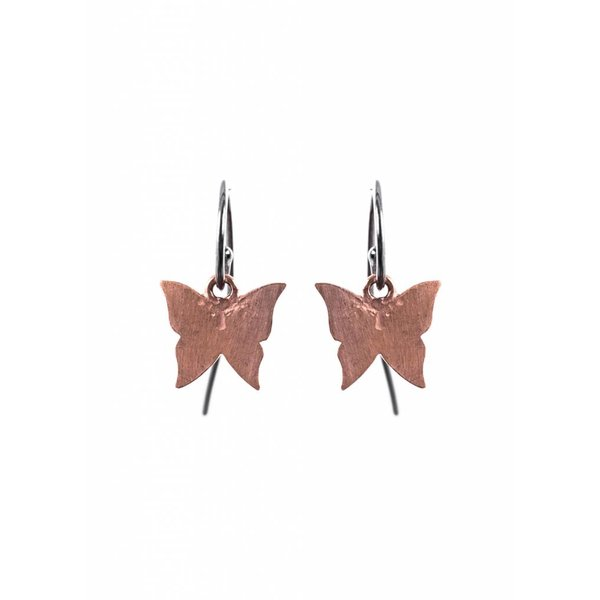 Butterfly Earrings - Oxidised and Rose