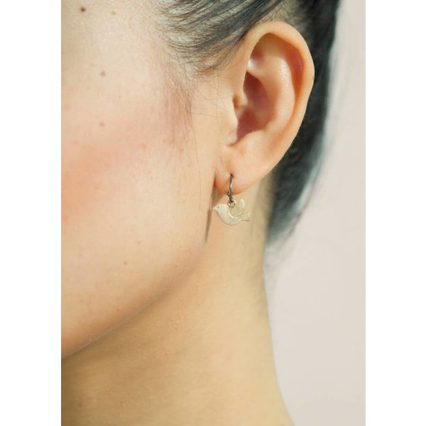 Bird Earrings - Oxidised and Gold