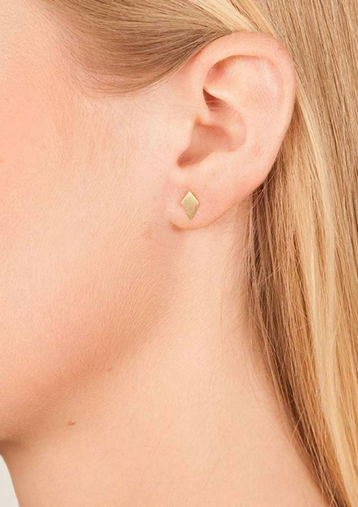 Dutch Basics Diamond Stud Earrings 'RUIT' - Oxidized