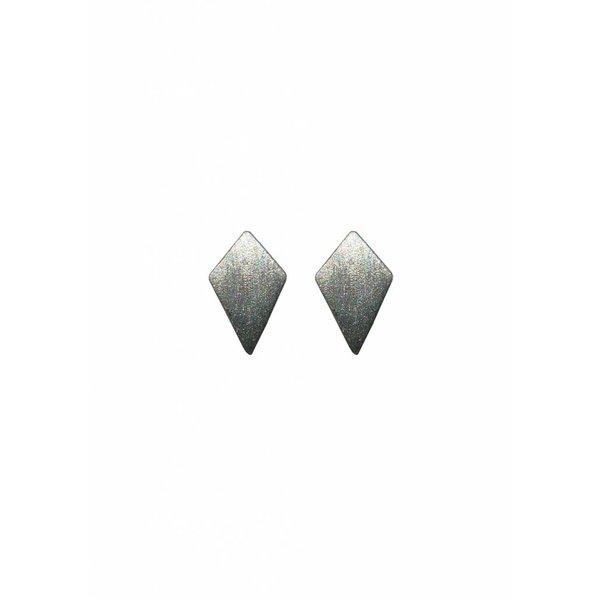 Diamond Stud Earrings 'RUIT' - Oxidized