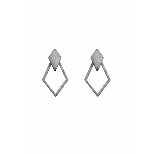 Dutch Basics Detachable Earrings 'Ruit' - Oxidized Silver