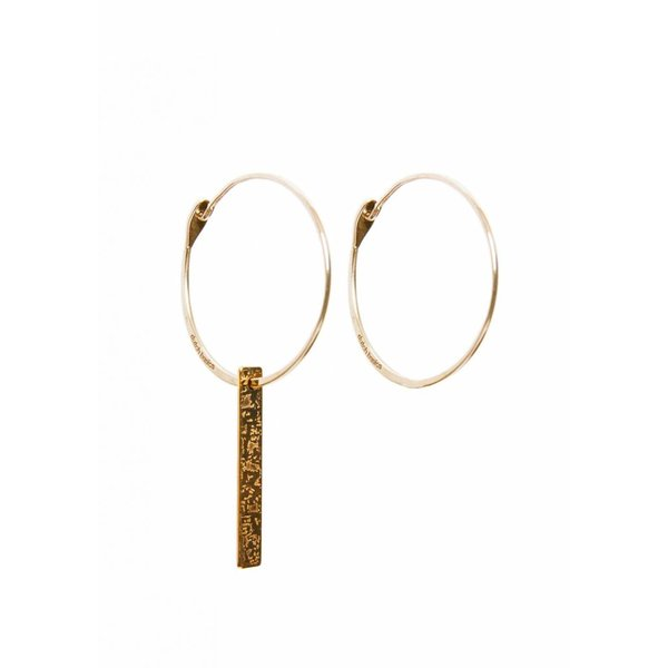 Gold Plated Hoop Earrings With Patterned Bar Pendant