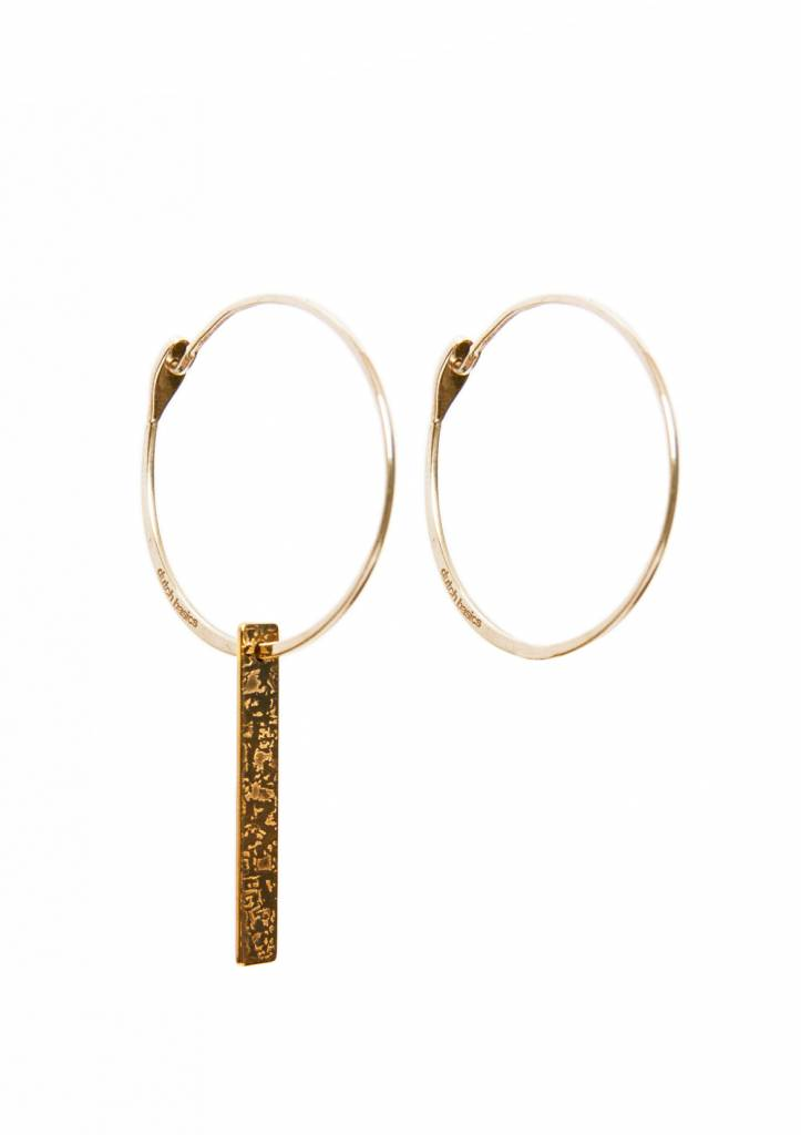 Dutch Basics Gold Plated Hoop Earrings With Patterned Bar Pendant