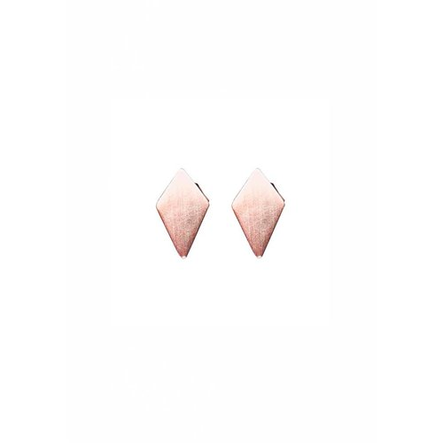 Dutch Basics Diamond Shaped Stud Earrings 'RUIT' - Rose