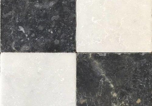 J&T Dambord vloer tegels wit marmer en Turks hardsteen anticato 20x20x1