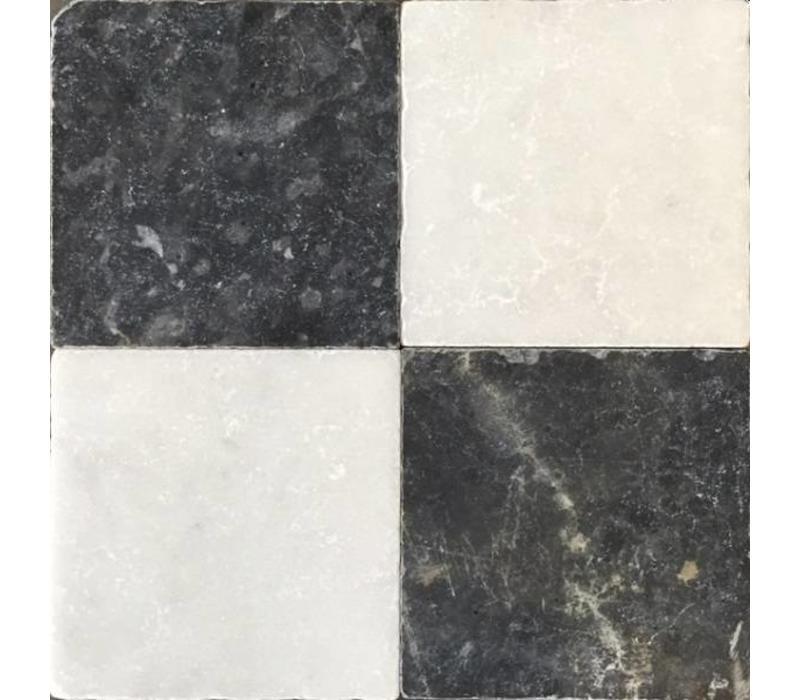 Dambord vloer tegels wit marmer en Turks hardsteen anticato 20x20x1
