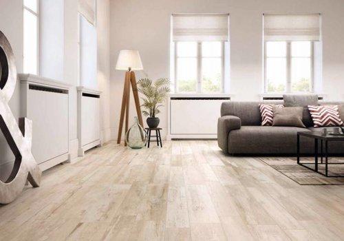 Supergres vloertegel REMAKE White 29,7x120 cm rett.