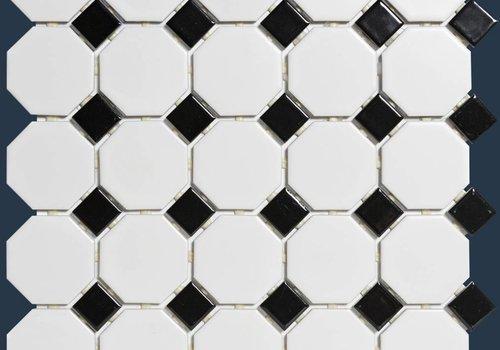 The Mosaic Factory mozaïek PARIS Octagon Matt Black / White