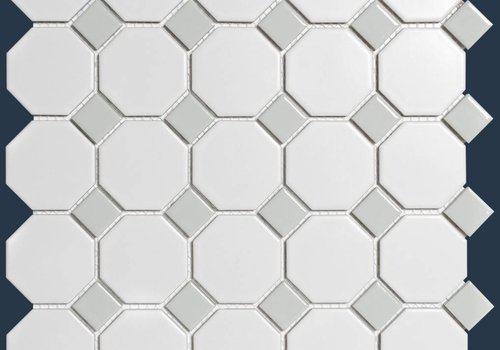 The Mosaic Factory mozaïek PARIS Octagon Matt Grey / White