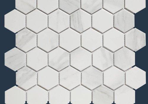 The Mosaic Factory mozaïek BARCELONA Hexagon Carrara White Marble Effect 51x59