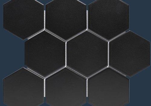 The Mosaic Factory mozaïek BARCELONA Hexagon Matt Black 95x110