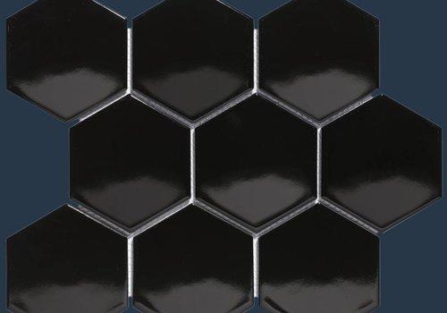 The Mosaic Factory mozaïek BARCELONA Hexagon Glossy Black 95x110