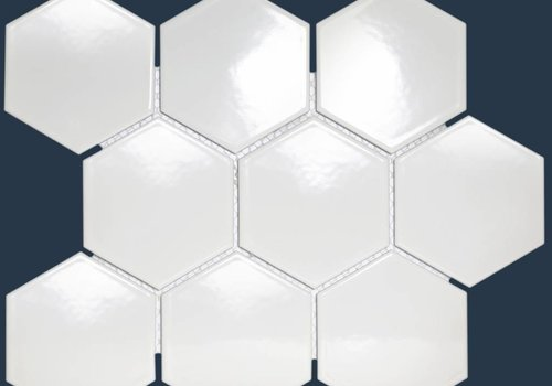 The Mosaic Factory mozaïek BARCELONA Hexagon Glossy Extra White 95x110