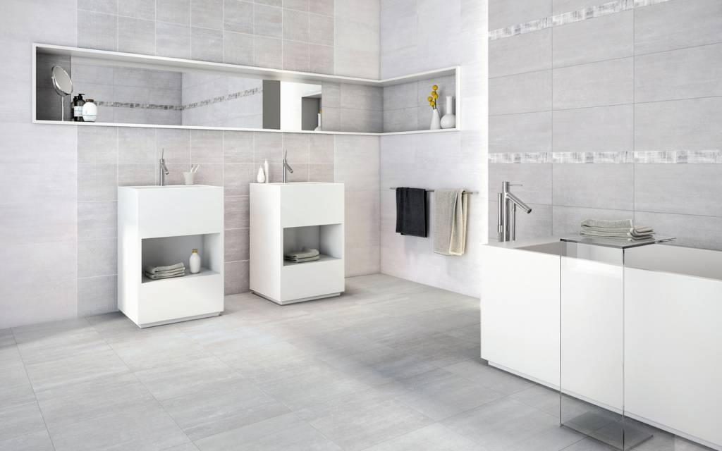 Betonlook badkamer van verf stuc en beton ciré tot tegels op de