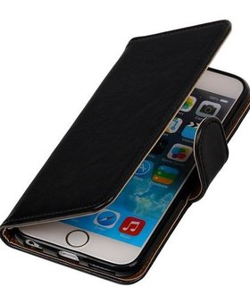 Zwart vintage lederlook bookcase voor de iPhone 6 / 6s wallet hoesje