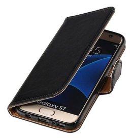 Lelycase Zwart vintage lederlook bookcase voor de Samsung Galaxy S7 wallet hoesje
