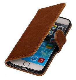 Galata Bruin vintage lederlook bookcase voor de iPhone 6 / 6s wallet hoesje