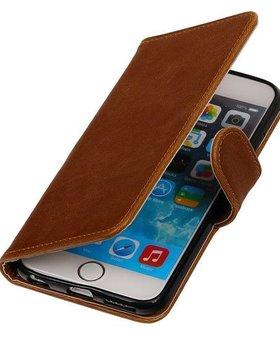 Bruin vintage lederlook bookcase voor de iPhone 6 / 6s wallet hoesje