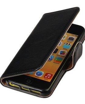 Lelycase Zwart vintage lederlook bookcase voor de iPhone SE wallet hoesje